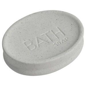 Stoneware Soap Dish Cup BATH Sand Stone Effect Natural Beige Ecru