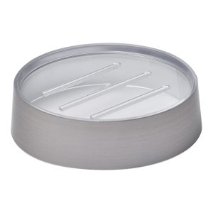 Bathroom Countertop Round Soap Dish Cup NOUMEA Metallized Effect