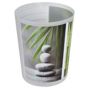 Printed Bath Trash Can Zen and Co Waste Bin 4.5-liter/1.2-gals