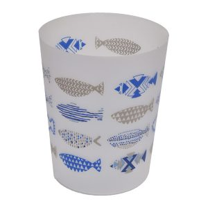 Printed Bath Trash Can Nautical Waste Bin 4.5-liter/1.2-gals