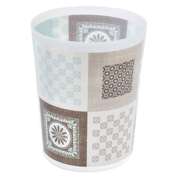 Faience Printed Waste Basket Floor Trash Can 4.5-Liter/1.2-Gals