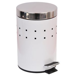 Round Perforated Metal Bathroom Floor Step Trash Can Waste Bin 3-liters/0.8-gal- Stainless Steel Cover -White