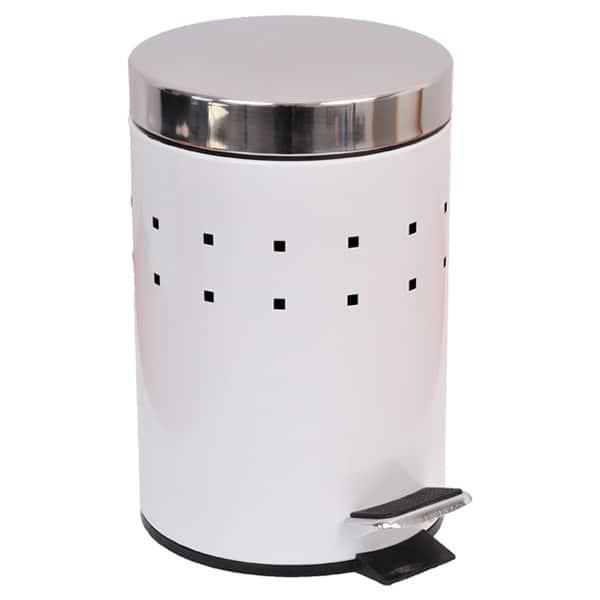 Round Perforated Metal Bathroom Floor Step Trash Can Waste Bin 3-liters/0.8-gal- Stainless Steel Cover -White