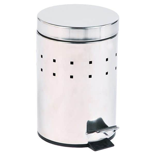 Round Perforated Metal Bathroom Floor Step Trash Can Waste Bin 3-liters/0.8-gal- Stainless Steel Cover -Chrome