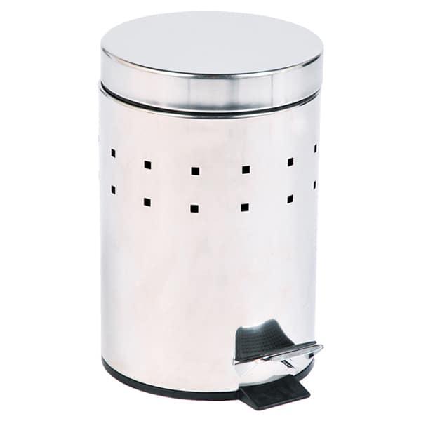 Round Perforated Metal Bathroom Floor Step Trash Can Waste Bin 3-liters/0.8-gal- Stainless Steel Cover -Chrome