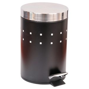 Round Perforated Metal Bathroom Floor Step Trash Can Waste Bin 3-liters/0.8-gal- Stainless Steel Cover -Black