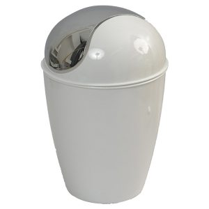 Mini Waste Basket for Bathroom or Kitchen Countertop 0.5 Liter -0.3 Gal Chrome Lid -White