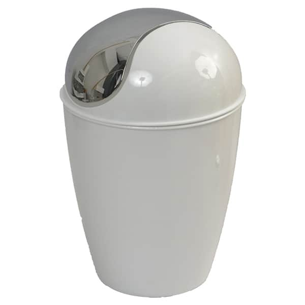 Mini Waste Basket for Bathroom or Kitchen Countertop 0.5 Liter -0.3 Gal  Chrome Lid -White