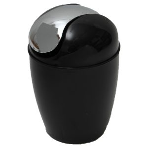 Mini Waste Basket for Bathroom or Kitchen Countertop 0.5 Liter -0.3 Gal Chrome Lid -Black