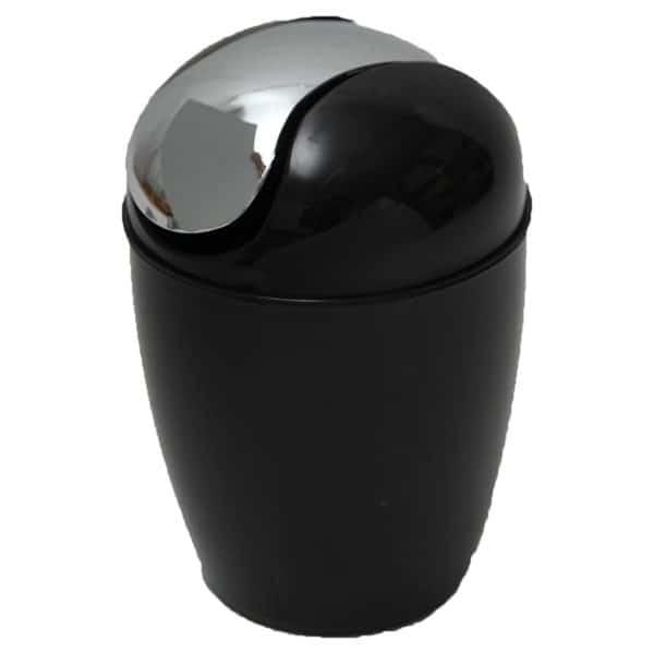 Mini Waste Basket for Bathroom or Kitchen Countertop 0.5 Liter -0.3 Gal Chrome Lid -Black
