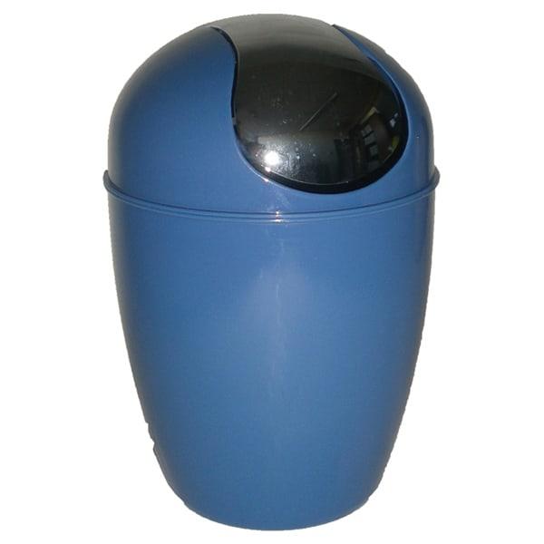 Mini Waste Basket for Bathroom or Kitchen Countertop 0.5 Liter -0.3 Gal  Chrome Lid -Navy Blue