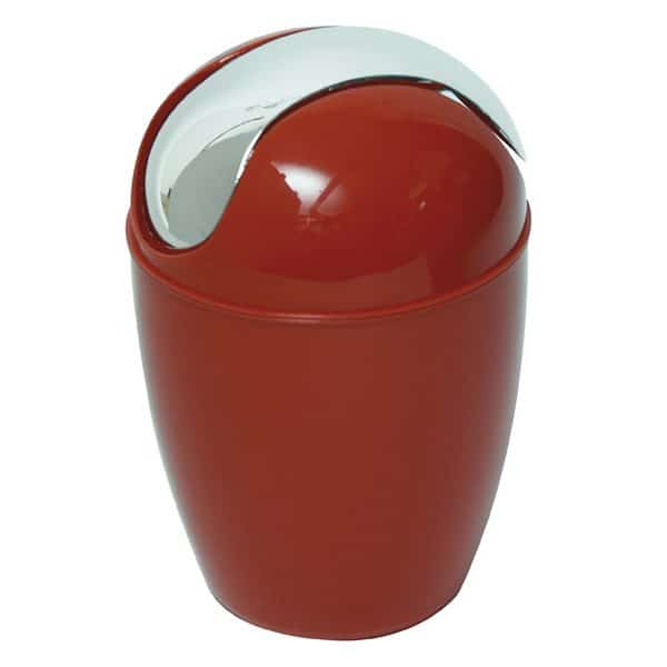 Mini Waste Basket for Bathroom or Kitchen Countertop 0.5 Liter -0.3 Gal Chrome Lid -Red