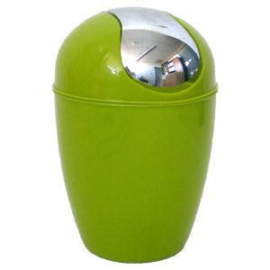 Mini Waste Basket for Bathroom or Kitchen Countertop 0.5 Liter -0.3 Gal Chrome Lid -Lime Green