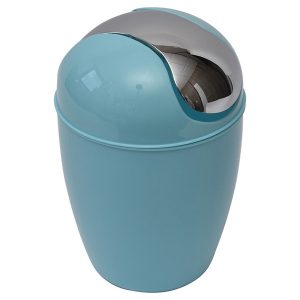 Mini Waste Basket for Bathroom or Kitchen Countertop 0.5 Liter -0.3 Gal Chrome Lid -Aqua Blue