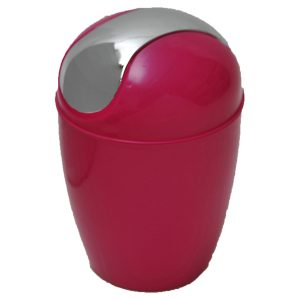 Mini Waste Basket for Bathroom or Kitchen Countertop 0.5 Liter -0.3 Gal Chrome Lid -Pink