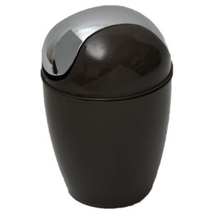 Mini Waste Basket for Bathroom or Kitchen Countertop 0.5 Liter -0.3 Gal Chrome Lid -Brown