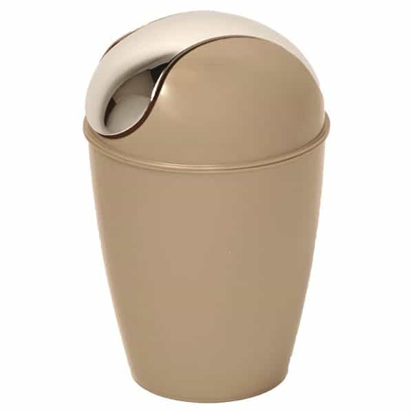 Mini Waste Basket for Bathroom or Kitchen Countertop 0.5 Liter -0.3 Gal Chrome Lid -Taupe