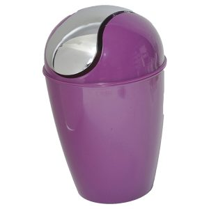 Mini Waste Basket for Bathroom or Kitchen Countertop 0.5 Liter -0.3 Gal Chrome Lid -Purple