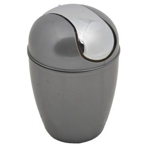 Mini Waste Basket for Bathroom or Kitchen Countertop 0.5 Liter -0.3 Gal Chrome Lid -Grey
