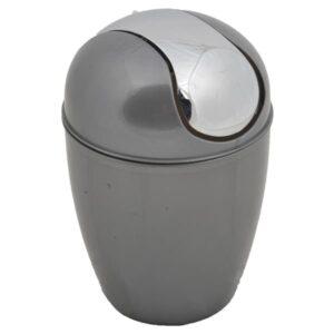 Mini Waste Basket for Bathroom or Kitchen Countertop 0.5 Liter -0.3 Gal Chrome Lid -Grey