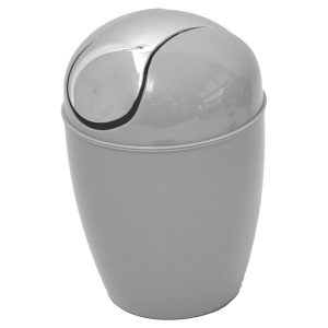 Mini Waste Basket for Bathroom or Kitchen Countertop 0.5 Liter -0.3 Gal Chrome Lid -Light Grey