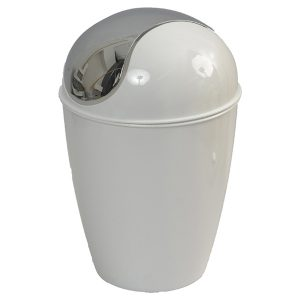 Round Bathroom Floor Trash Can Waste Bin 4.5-liters/1.2-gal - White
