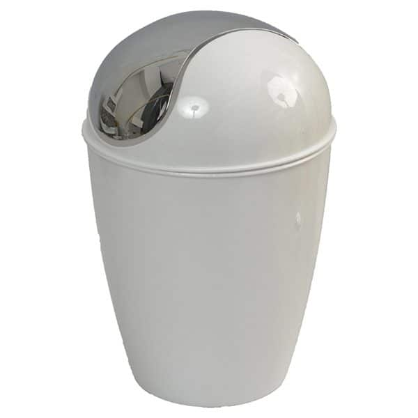Round Bathroom Floor Trash Can Waste Bin 4.5-liters/1.2-gal - White