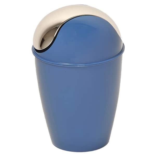 Round Bathroom Floor Trash Can Waste Bin 4.5 Liters/1.2 Gal   Navy