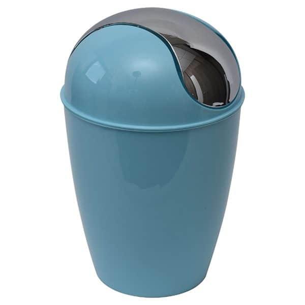 Round Bathroom Floor Trash Can Waste Bin 4.5-liters/1.2-gal - Aqua Blue