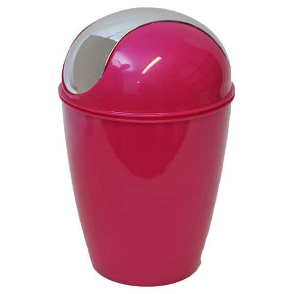 Round Bathroom Floor Trash Can Waste Bin 4.5-liters/1.2-gal - Pink