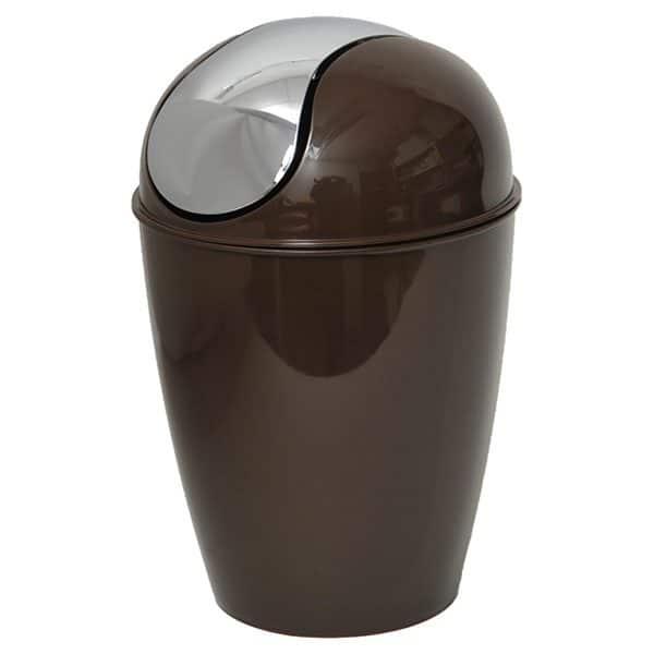 Round Bathroom Floor Trash Can Waste Bin 4.5-liters/1.2-gal - Brown