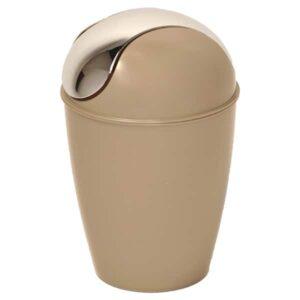 Round Bathroom Floor Trash Can Waste Bin 4.5-liters/1.2-gal - Taupe
