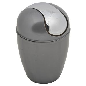 Round Bathroom Floor Trash Can Waste Bin 4.5-liters/1.2-gal - Grey