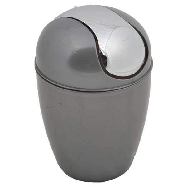 Round Bathroom Floor Trash Can Waste Bin 4.5-liters/1.2-gal - Grey