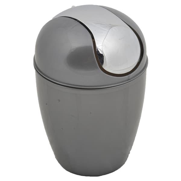 Round Bathroom Floor Trash Can Waste Bin 4.5 Liters/1.2 Gal   Grey