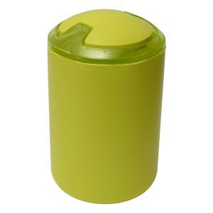 DESIGN Round Bathroom Floor Trash Can Waste Bin Top Swing Lid - Plastic 6-liters/1.6-gal Color: Lime Green