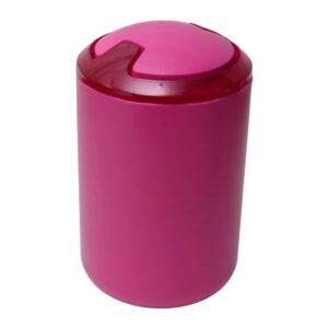 DESIGN Round Bathroom Floor Step Trash Can Waste Bin Top Swing Lid - Plastic 6-liters/1.6-gal Color: Pink