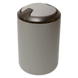DESIGN Round Bathroom Floor Step Trash Can Waste Bin Top Swing Lid - Plastic 6-liters/1.6-gal Color: Taupe