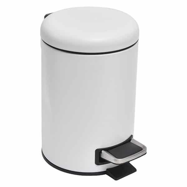 Soft Close Small Round Metal Bathroom Floor Step Trash Can Waste Bin 3-liters/0.8-gal White