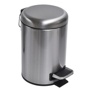 Soft Close Small Round Metal Bathroom Floor Step Trash Can Waste Bin 3-liters/0.8-gal Steel