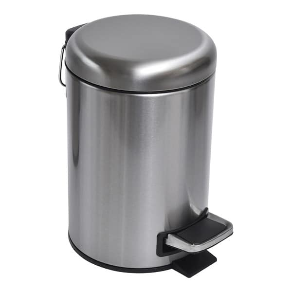 Soft Close Small Round Metal Bathroom Floor Step Trash Can Waste Bin 3-liters/0.8-gal Steel