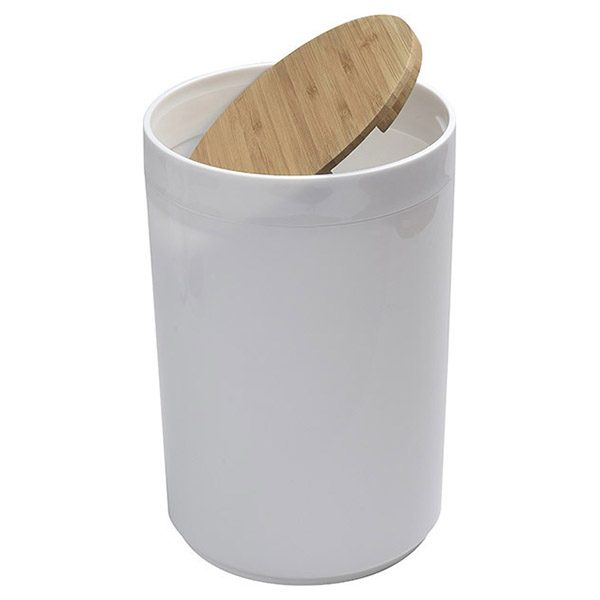 Round Bathroom Floor Trash Can PADANG Waste Bin Bamboo Top Swing Lid - Plastic 5-liters/1.3-gal