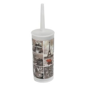Cafe Paris Bathroom Free Standing Printed Toilet Bowl Brush and Holder