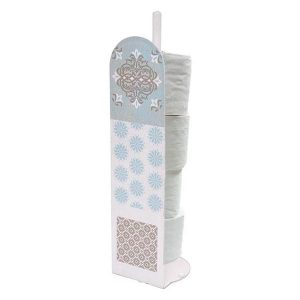 Faience Printed Bathroom Toilet Tissue Paper Roll Storage Holder Stand- 4 Rolls