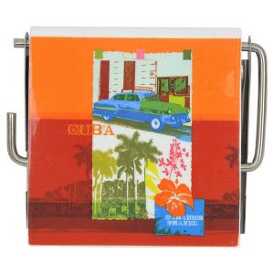 Cuba Wall Mounted Bathroom Printed Toilet Tissue One Roll Dispenser