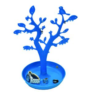 EVE Bathroom Tree Shape Jewelry Storage Organizer and Holder Color: Blue