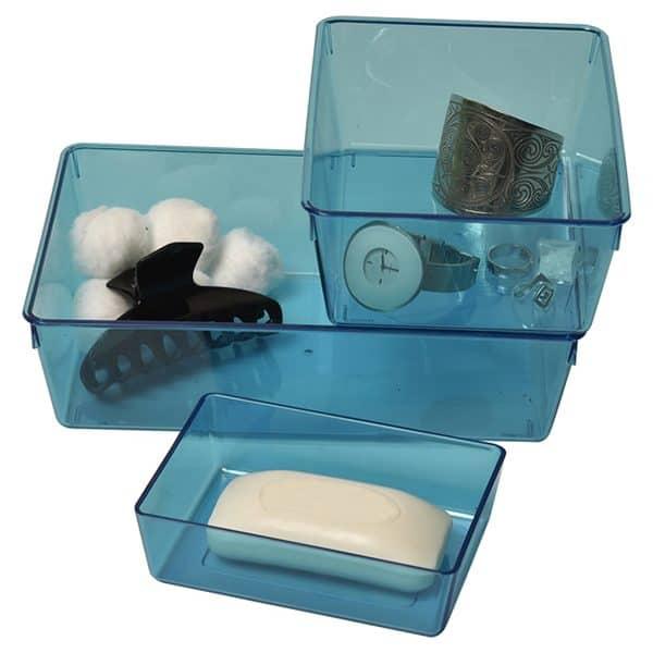 EVE Utility Basket Bathroom Storage Organizer Clear Colored -Set of 3 pieces Blue