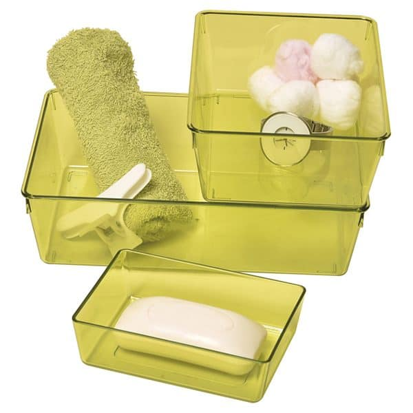 EVE Utility Basket Bathroom Storage Organizer Clear Colored -Set of 3 pieces Green