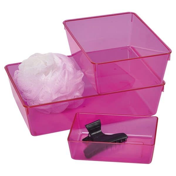 EVE Utility Basket Bathroom Storage Organizer Clear Colored -Set of 3 pieces Purple