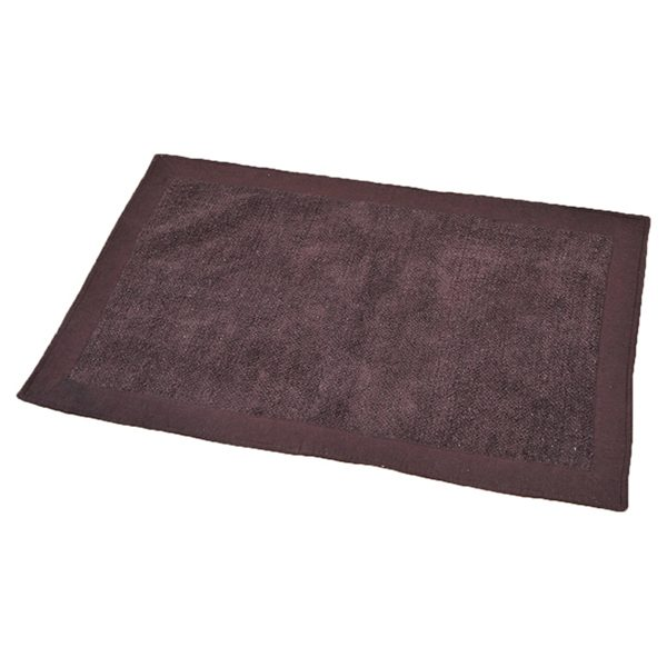Cotton with Velvet Border Bathroom Mat Home Rug 20W X 31.5L Brown